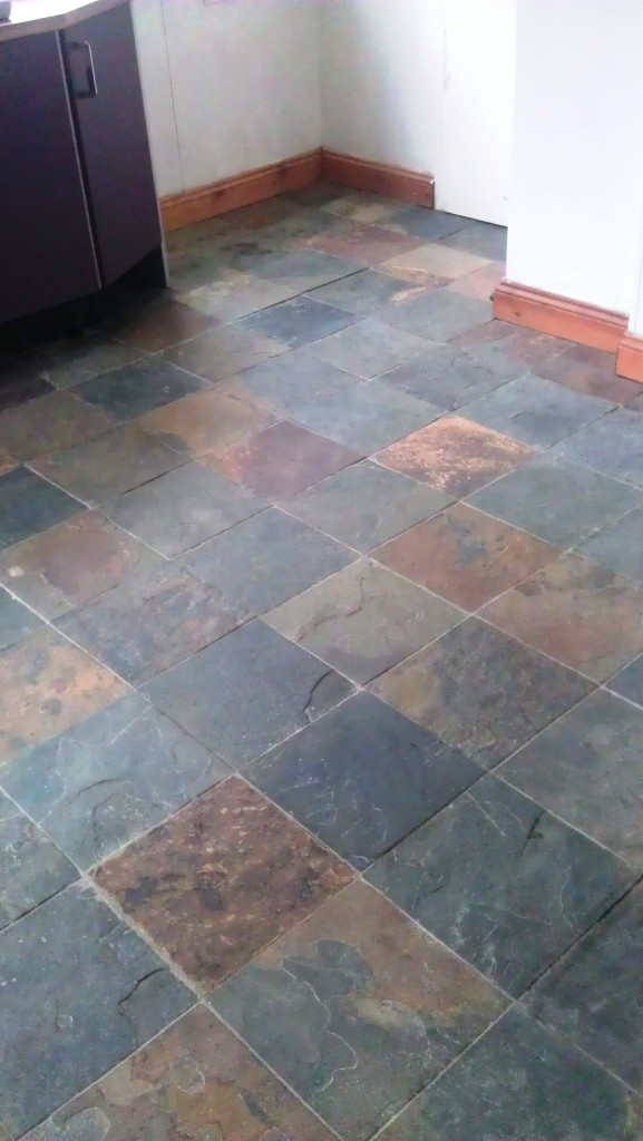 Slate Floor Before Cleaning and Sealing