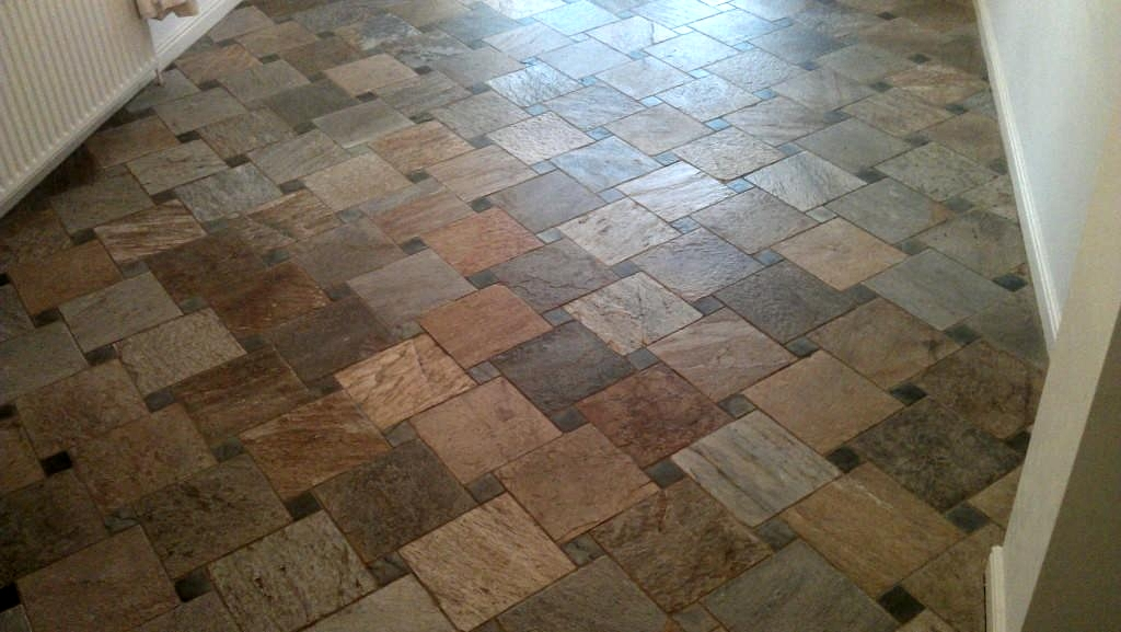 Italian Riven Slate Tiled Floor Cleaned And Sealed In Boston Lincolnshire Tile Doctor