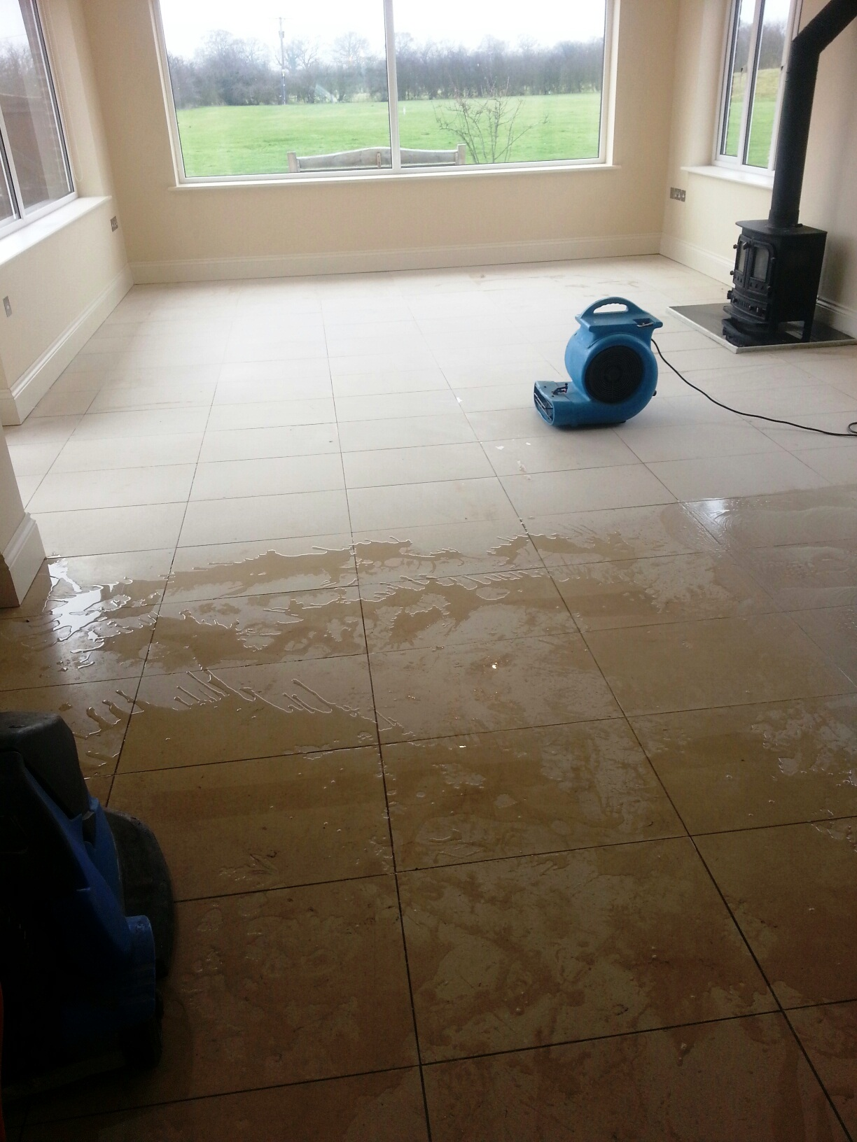 Limestone Tiles in Louth After Cleaning Drying