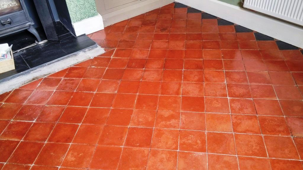 Abused Quarry Tiled Floor after cleaning Louth