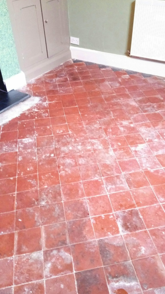 Abused Quarry Tiled Floor before cleaning Louth