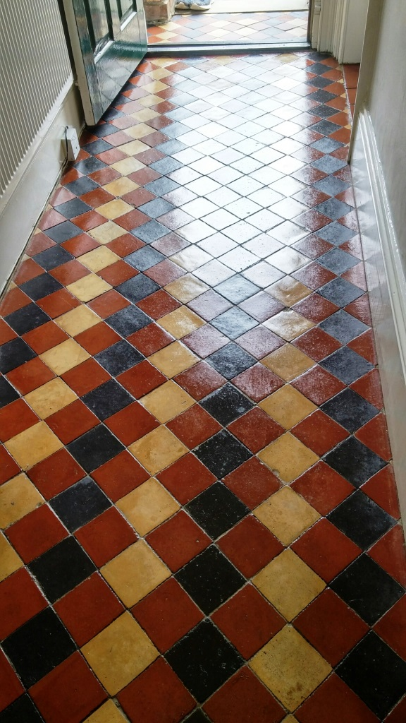 Old Victorian tiled hallway after cleaning Louth