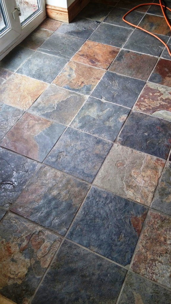 Riven Slate Tiled Floor Before Cleaning in Coningsby