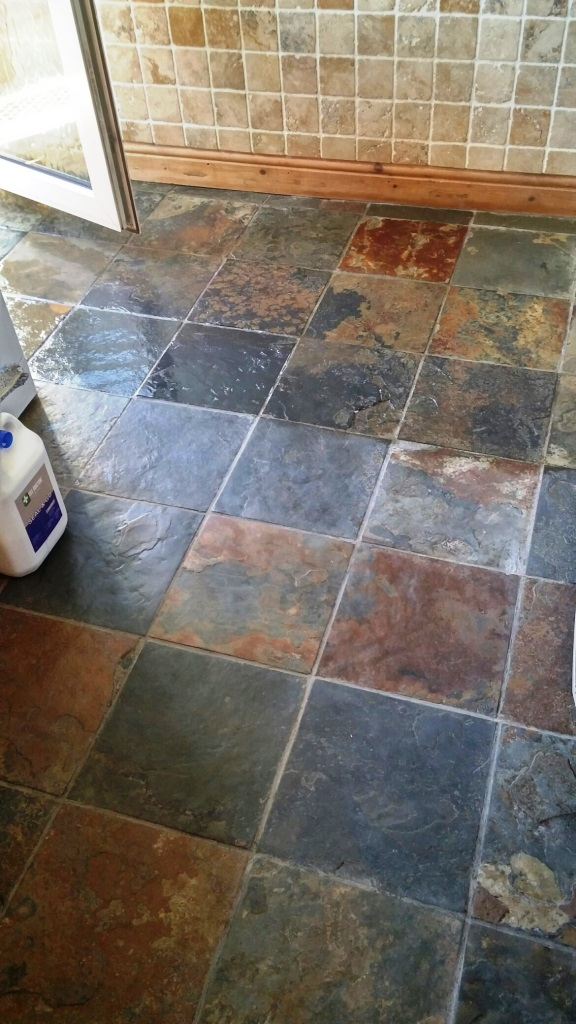 Riven Slate Tiled Floor During Sealing in Coningsby