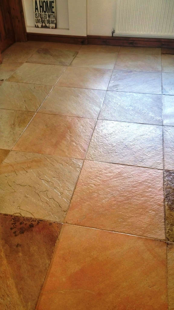 Sandstone Tiled Floor After Cleaining and Sealing in Coningsby