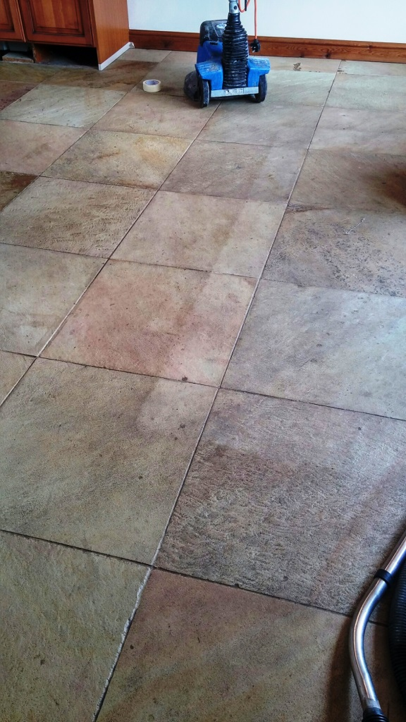 Sandstone Tiled Floor Before Cleaning in Coningsby