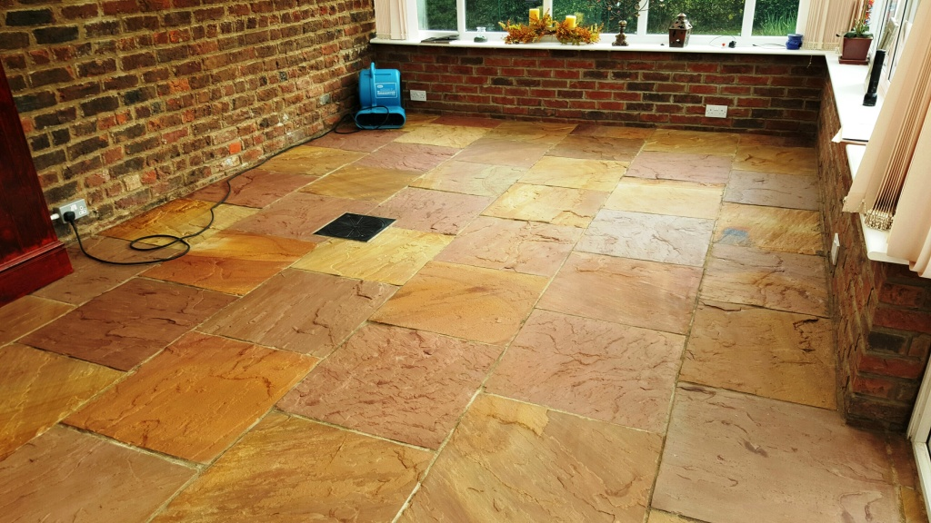Riven Flagstone Floor After Sealing Boston