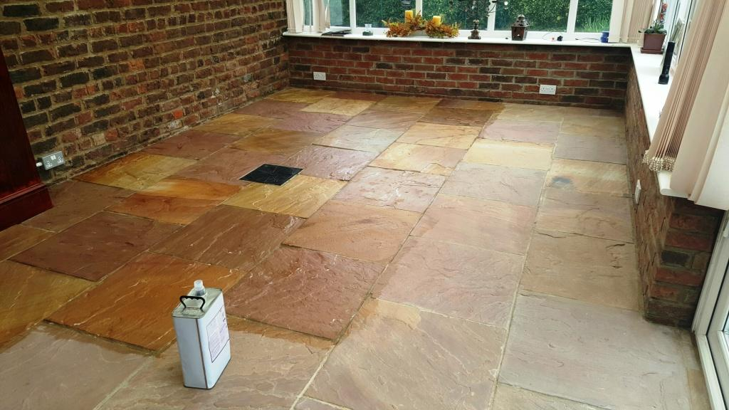 Riven Flagstone Floor During Sealing Boston