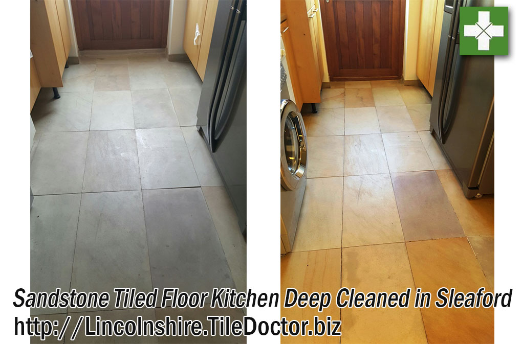 Sandstone Tiled Kitchen Floor Before and After Cleaning at Sleaford Barn Conversion