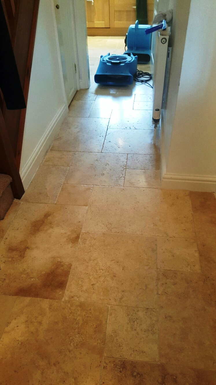 Travertine Tiled Floor Near Woodhall Spa After Cleaning