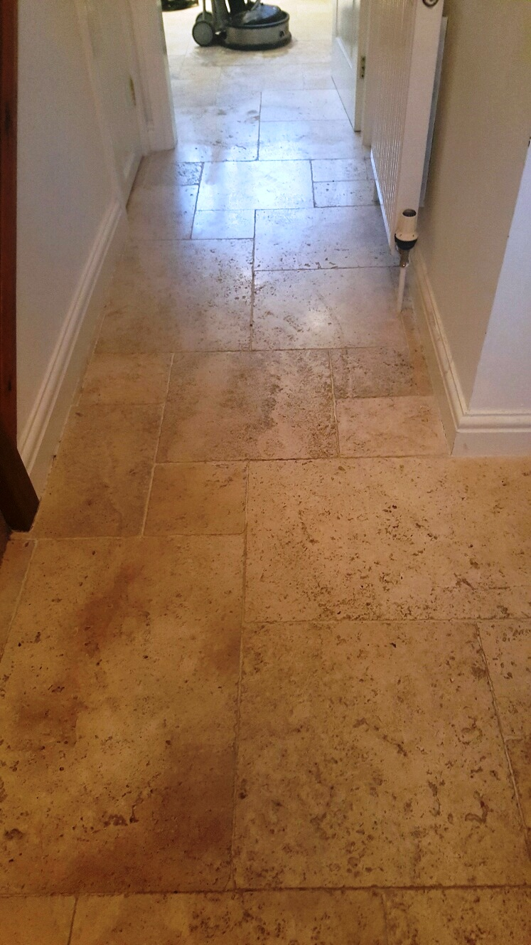 Travertine Tiled Floor Near Woodhall Spa Before Cleaning
