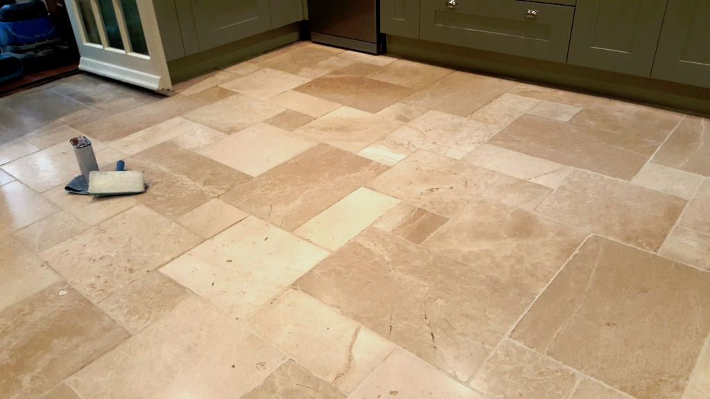 Travertine Kitchen Floor After Cleaning and Sealing Lincoln