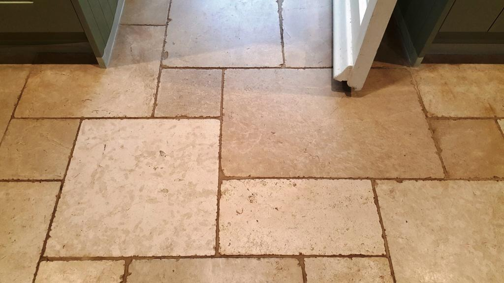 Travertine Kitchen Floor Before Cleaning Lincoln