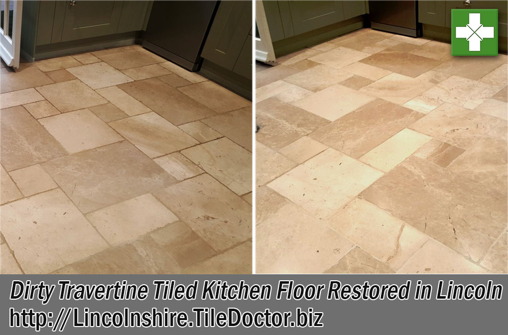 Travertine Kitchen Floor Before and After Restoration in Lincoln