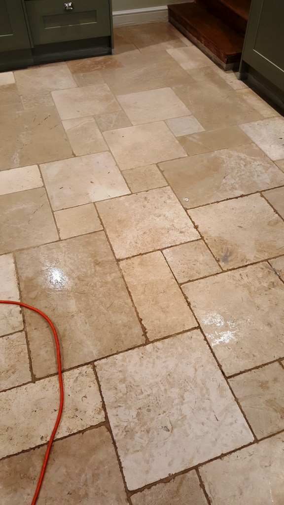 Travertine Kitchen Floor During Cleaning Lincoln