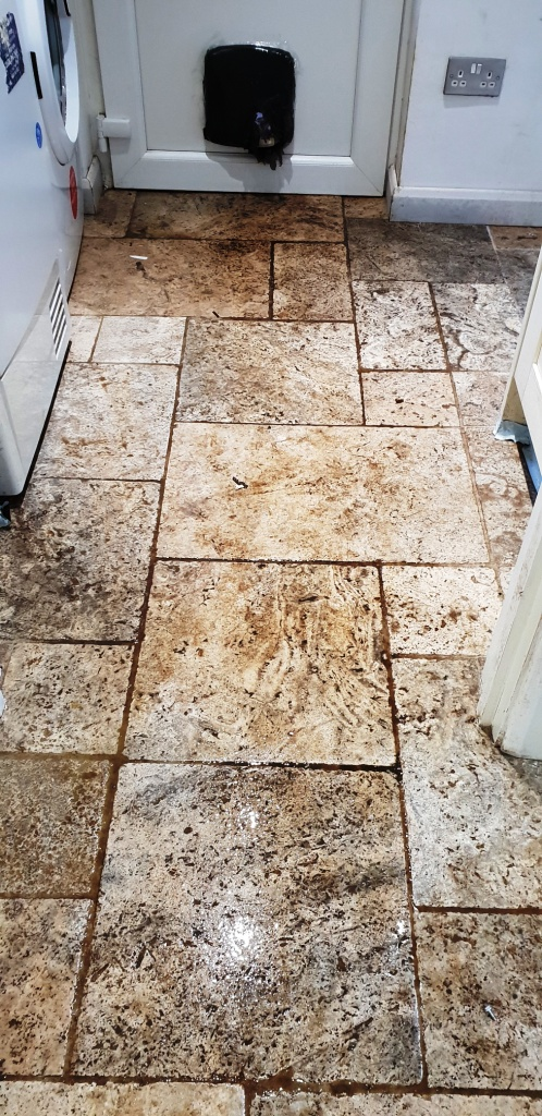 Travertine Floor Coningsby Before Cleaning