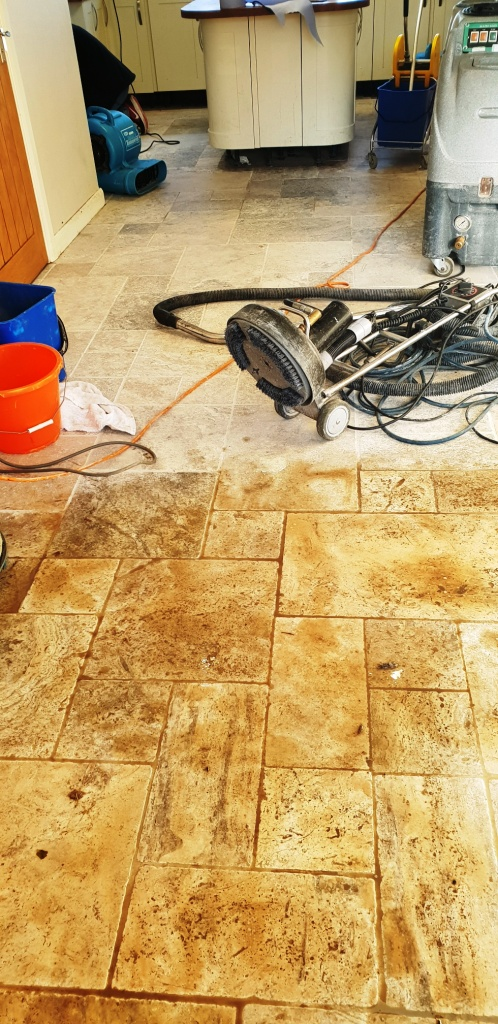 Travertine Floor Coningsby During Cleaning