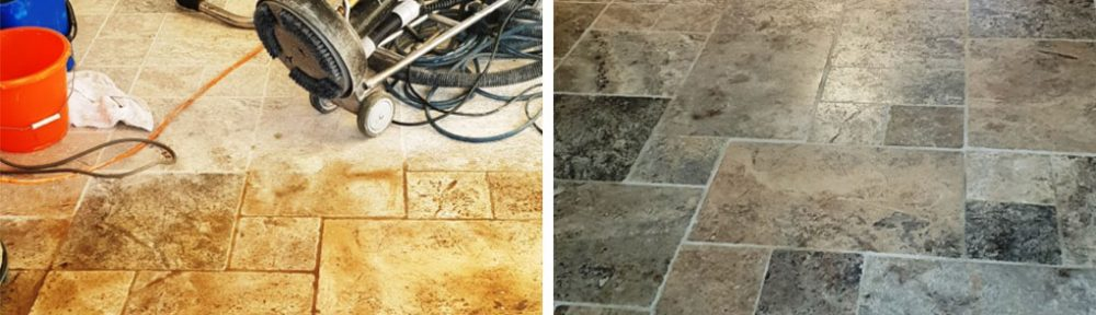 Renovating Dirty Travertine Kitchen Tiles in Coningsby