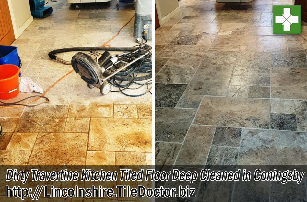 Travertine Tiled Kitchen Floor Cleaned Sealed Coningsby