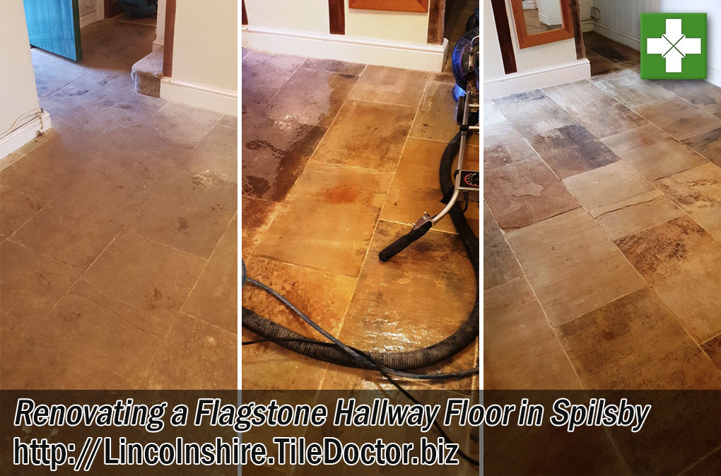 Flagstone Tiled Hallway Floor Renovated in Spilsby