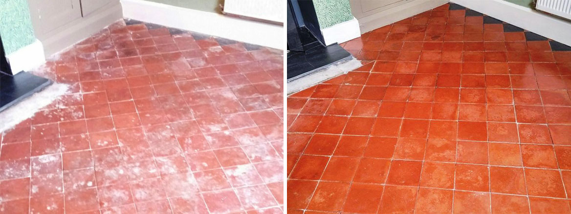 Abused Quarry Tiled Floor Before and After cleaning Louth