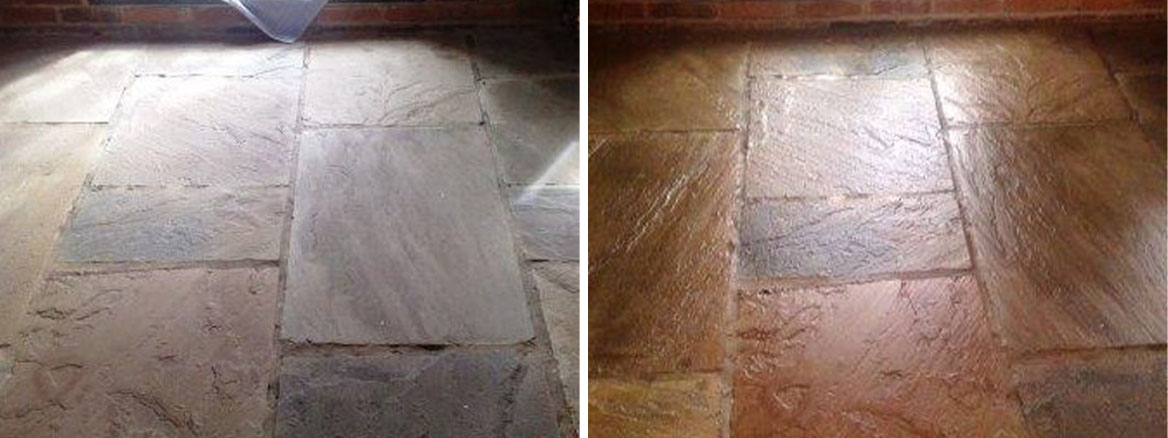 Flagstone floor Before and After