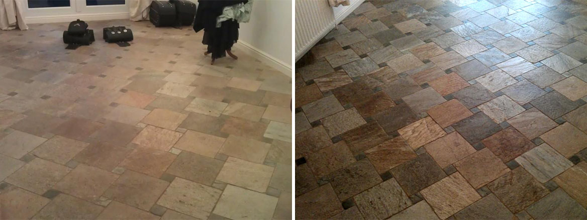Italian Riven Slate tiled floor cleaned and sealed in Boston