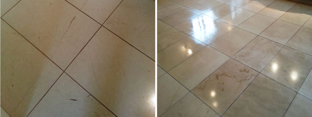 Limestone Tile Before and After Burnishing Gainsborough