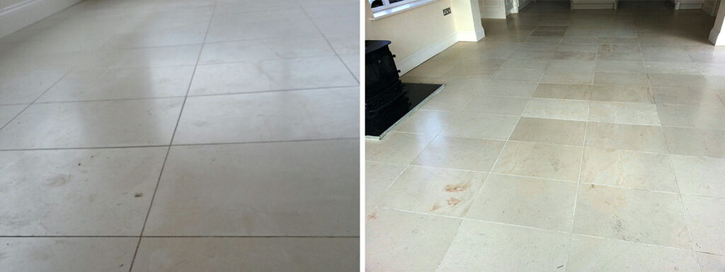 Limestone Tiles in Louth Before and After Sealing