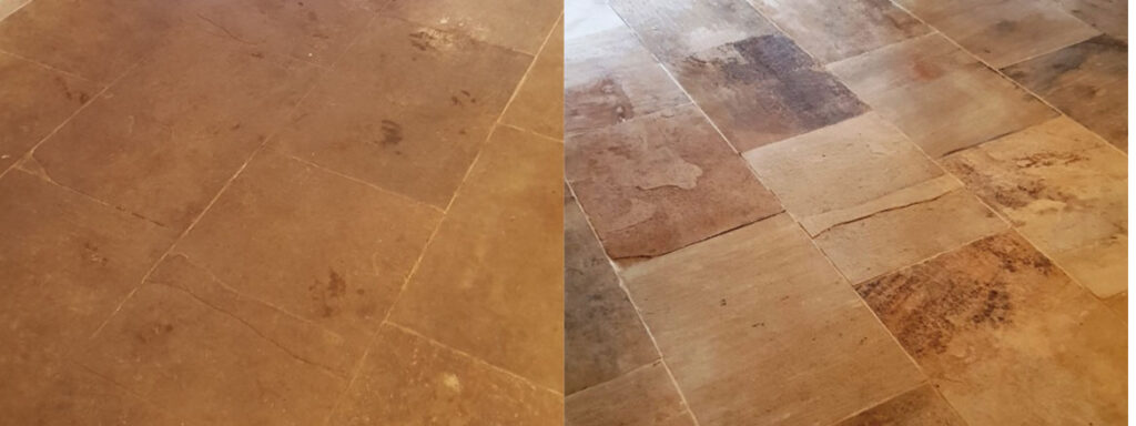 Natural Stone Floor Before and After Cleaning Spilsby