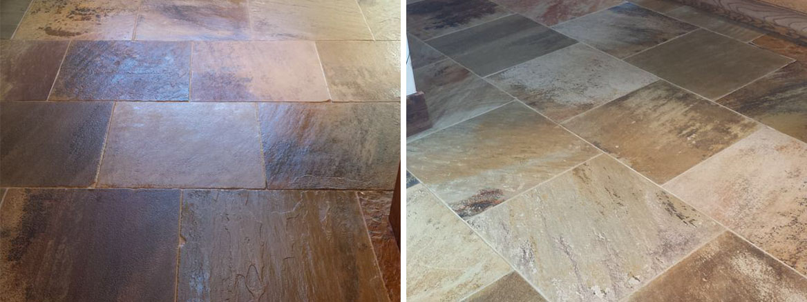 Natural Riven Stone floor stripped and re-sealed in Boston