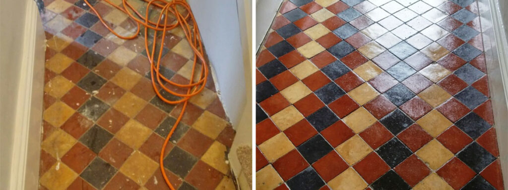 Old Victorian tiled hallway Before and After cleaning Louth