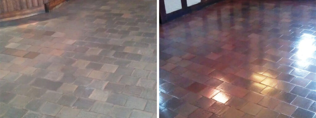 Quarry Tile Before and After Cleaning and Sealing