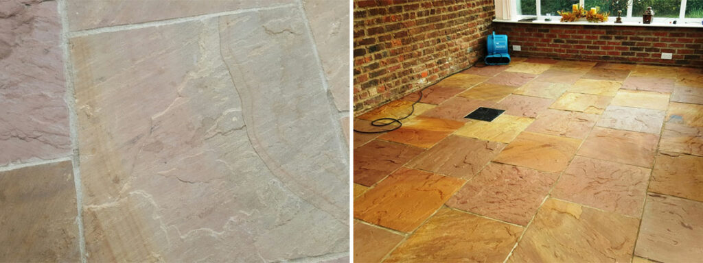 Riven Flagstone Floor Before and After Sealing Boston