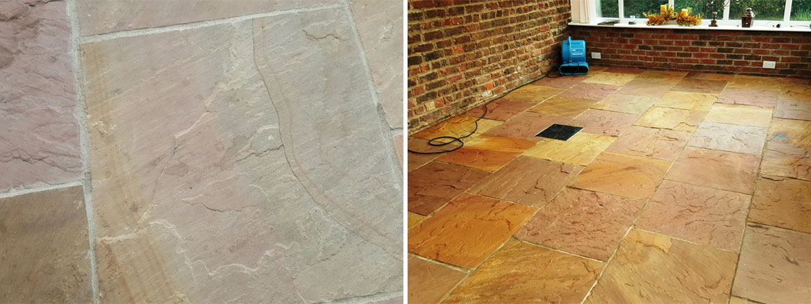 Restoring a Stained Flagstone Tiled Floor in Boston