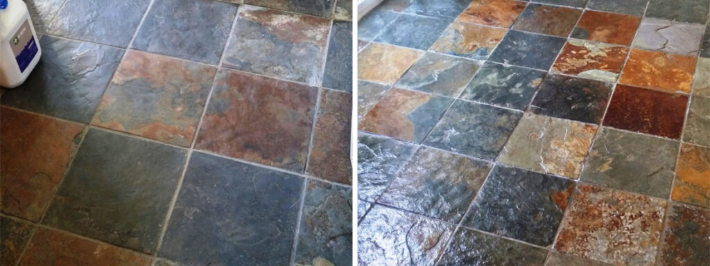 Riven Slate Tiled Floor Before and After Cleaining and Sealing in Coningsby
