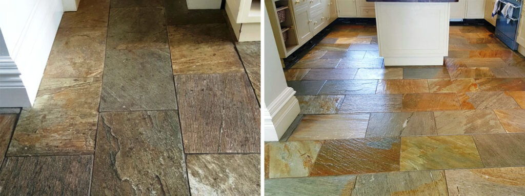 Riven slate floor Before and After Sealing at Boston Farmhouse