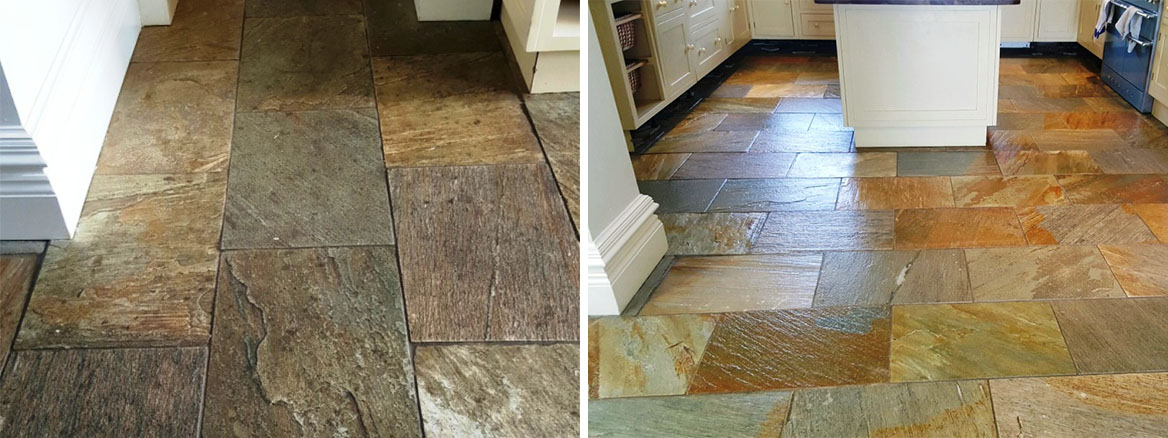 Riven Slate Tiles Rejuvenated by Deep Clean and Seal in Boston