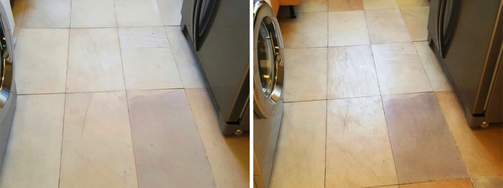 Sandstone Floor Before and After Sealing Sleaford