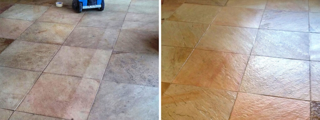 Sandstone Tiled Floor Before and After Cleaining and Sealing in Coningsby