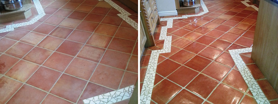Terracotta Kitchen Floor Cleaned and Sealed in Horncastle