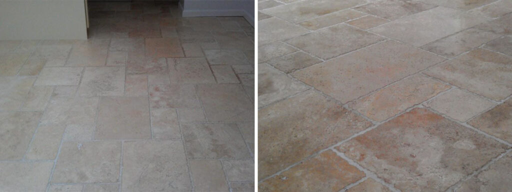 Travertine Floor Before and After