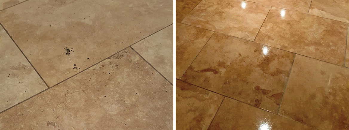 Travertine Floor Before and After Refurbishment Sleaford