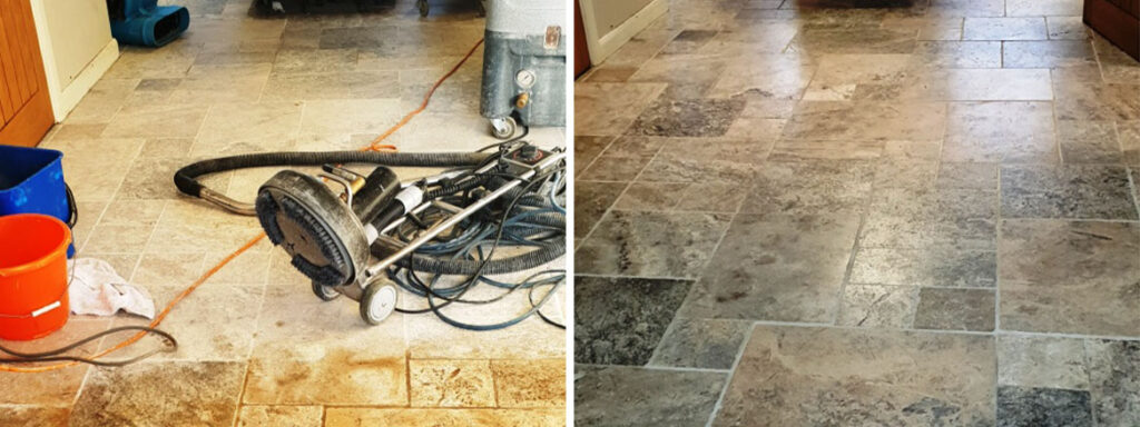 Travertine Floor Polishing Coningsby Before and After Cleaning