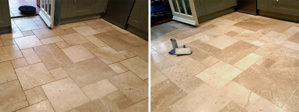 Travertine Kitchen Floor Before and After Cleaning and Sealing Lincoln