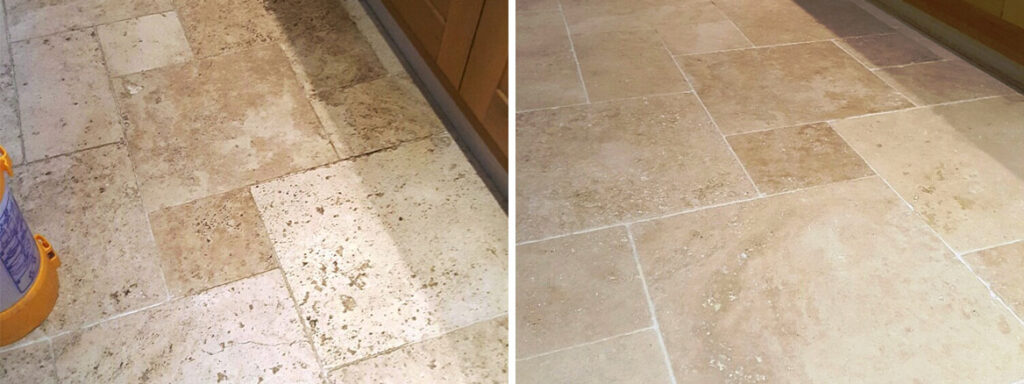 Travertine Tiled Floor Near Woodhall Spa Before and After Cleaning