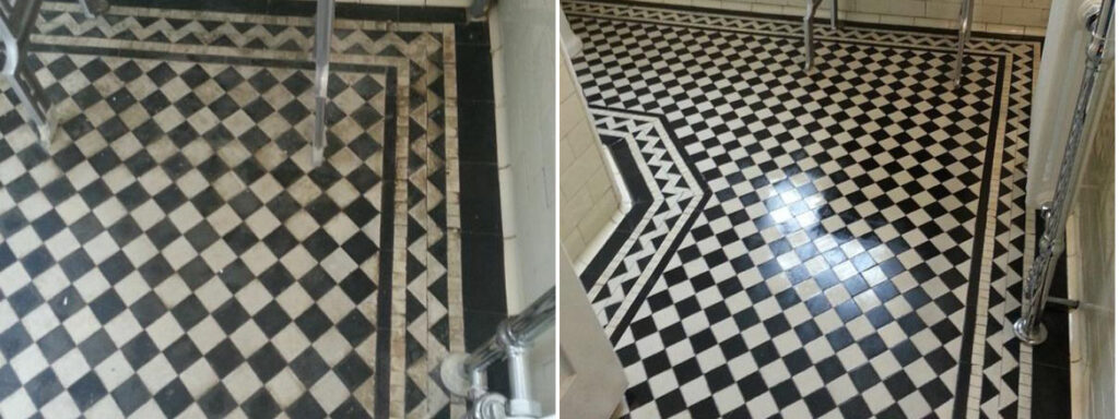 Victorian tiled floor near Horncastle Before and After Cleaning
