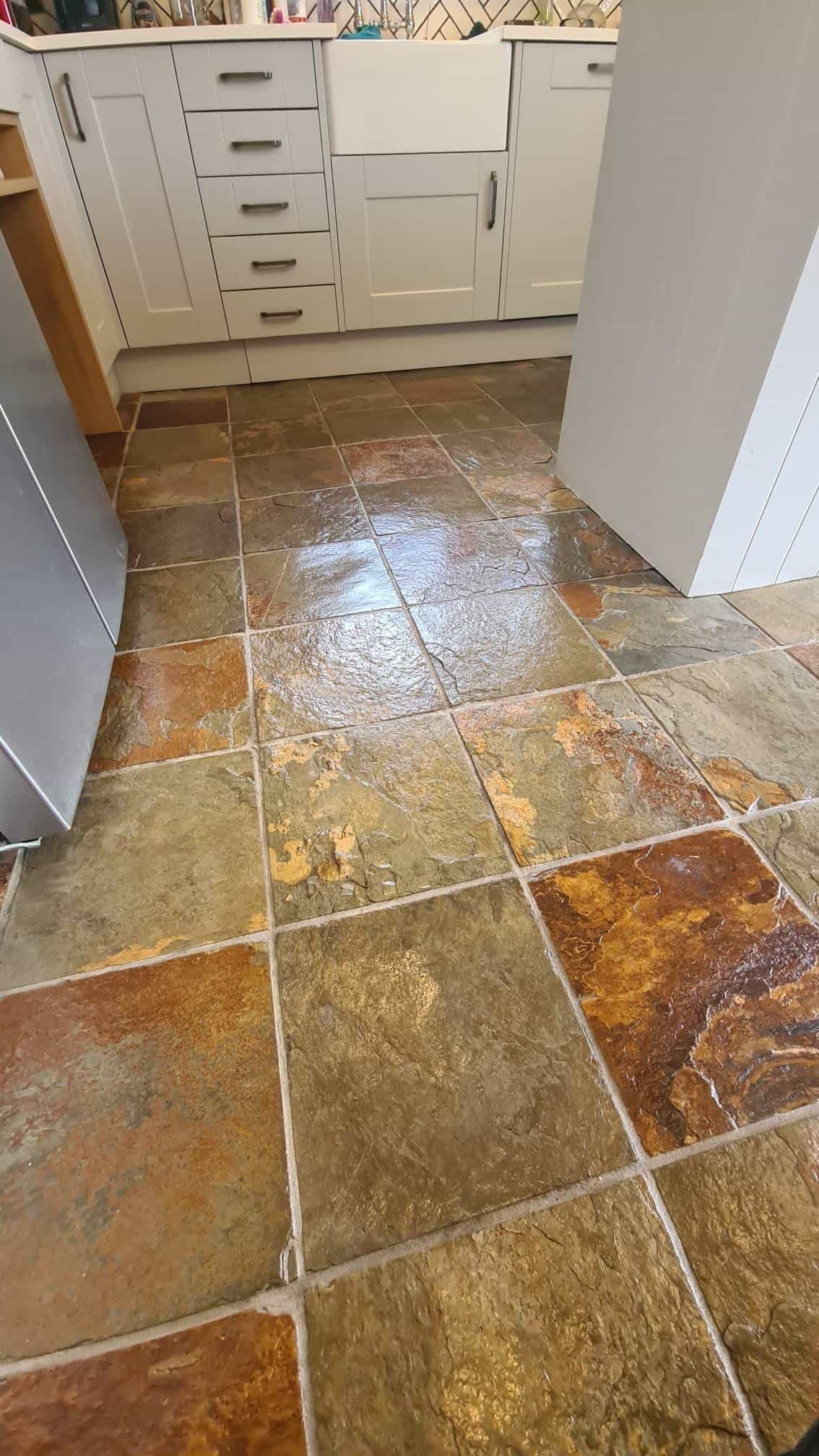 Slate Tiled Kitchen Floor After Cleaning Lincoln