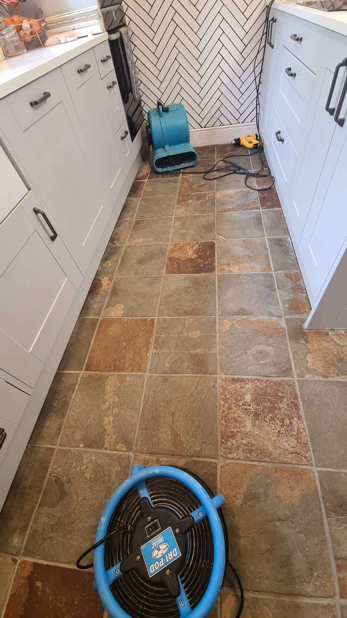 Slate Tiled Kitchen Floor During Cleaning Lincoln